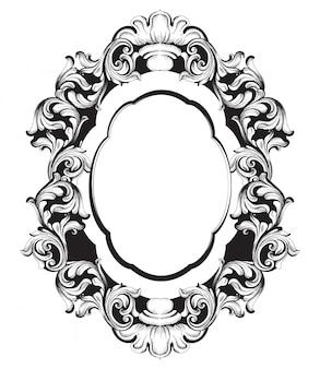 Barokke spiegellijst lijntekeningen