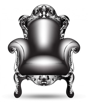 Barokke zwarte leunstoel ingewikkelde structuur