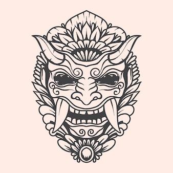 Barong balinese cultuur stencil zwart-wit kunstwerk illustratie met gedetailleerde kleur