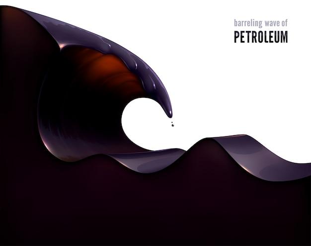 Barrelende golf van aardolie. 3d-realistische vorm van een zwarte, vettige vloeistof.