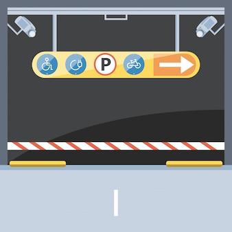 Barricade van parkeerzone ingestelde signalen