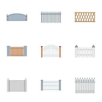 Barrière iconen set, vlakke stijl