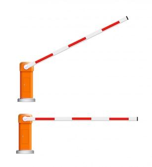 Barrière kudde. gedetailleerde illustraties van open en gesloten rode en witte autobarrières.