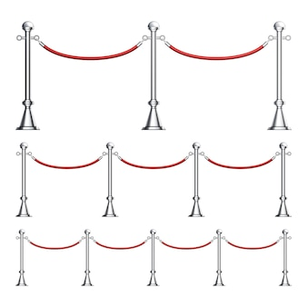 Barriers chromen kolom met fluwelen touwset