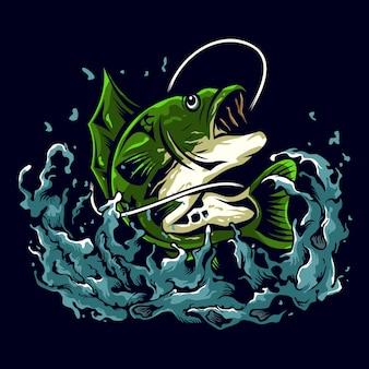 Bas vissen illustratie logo ontwerp
