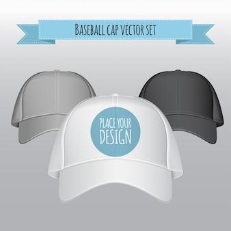 Baseball cap vector set. realistische afbeelding.