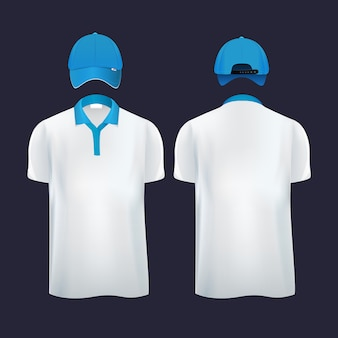 Baseball caps en casual t-shirt polo aan verschillende kanten. vector illustraties