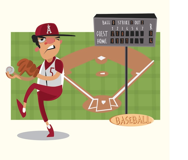 Baseball game karakters en objecten. vector illustratie