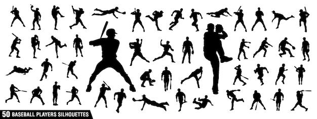 Baseball spelers silhouetten