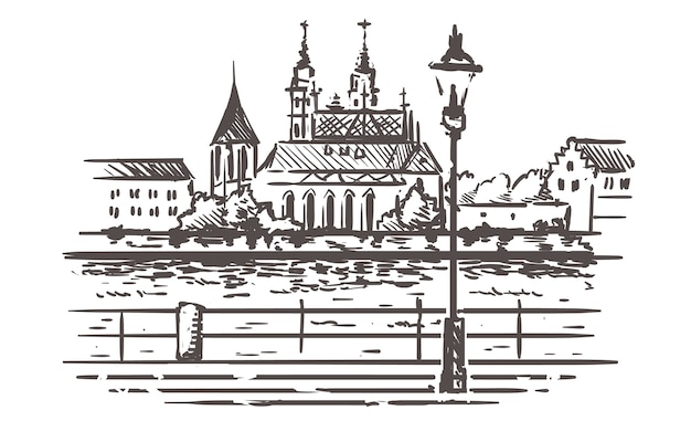 Basel stadsgezicht schets