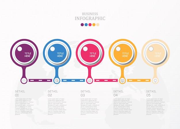 Basic cirkels infographic en pictogrammen.
