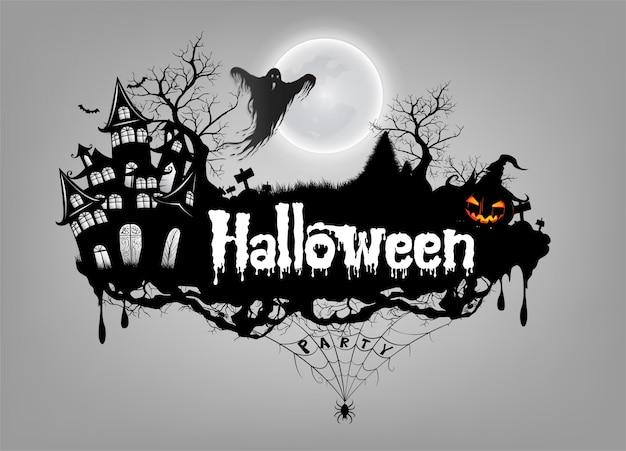 Basic rgbhappy halloween-achtergrond met pompoen en spook