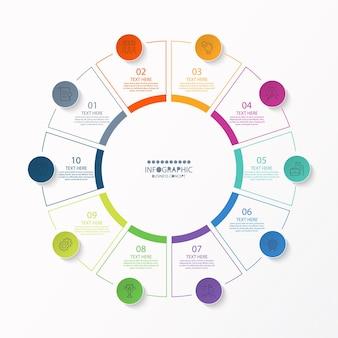 Basis cirkel infographic sjabloon met 10 stappen, proces of opties