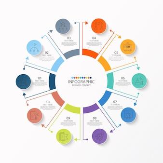 Basis cirkel infographic sjabloon met 10 stappen