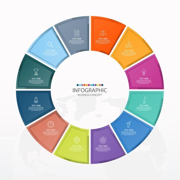 Basis cirkel infographic sjabloon met 12 stappen, proces of opties