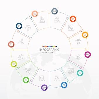 Basis cirkel infographic sjabloon met 12 stappen