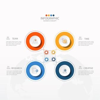 Basis cirkel infographic sjabloon met 4 stappen