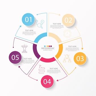 Basis cirkel infographic sjabloon met 5 stappen
