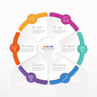 Basis cirkel infographic sjabloon met 6 stappen