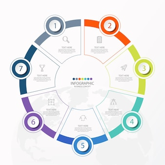Basis cirkel infographic sjabloon met 7 stappen, proces of opties, procesgrafiek.