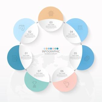 Basis cirkel infographic sjabloon met 7 stappen