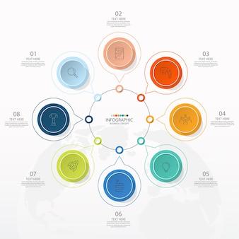 Basis cirkel infographic sjabloon met 8 stappen