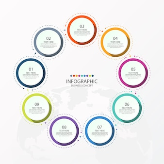 Basis cirkel infographic sjabloon met stappen