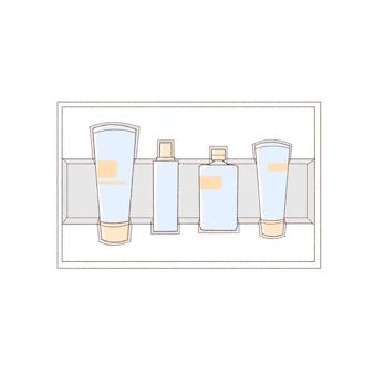 Basis cosmetische kit. eenvoudige kunststijl.