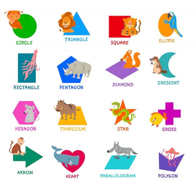 Basis geometrische vormen met tekenfilm dieren