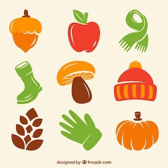 Basis herfst attributen in levendige kleuren