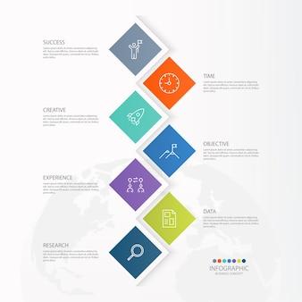 Basis infographic sjabloon met 7 stappen