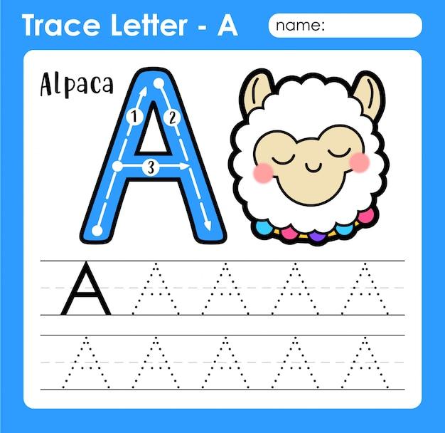Basis oefenen in hoofdletters schrijven alfabet letter - a voor alpaca