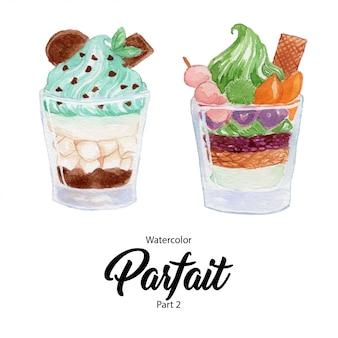 Basis rgbfruit parfait-dessert in een glas