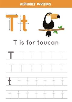 Basis schrijfoefening voor kinderen in de kleuterschool. alfabet overtrekwerkblad met alle az-letters. letter t traceren met schattige cartoon toekan. educatief grammaticaspel.