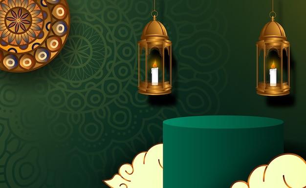 Basiscilinderpodium voor ramadan kareem mubarak met groene kleur
