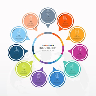Basiscirkel infographic sjabloon met 11 stappen, proces of opties, procesgrafiek, gebruikt voor procesdiagram, presentaties, werkstroomlay-out, stroomschema, infograph. vectorillustratie eps10.