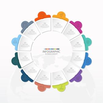 Basiscirkel infographic sjabloon met 12 stappen, proces of opties, procesdiagram