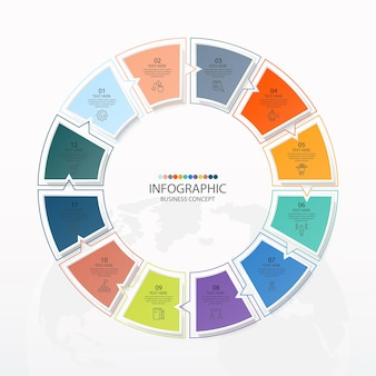 Basiscirkel infographic sjabloon met 12 stappen, proces of opties