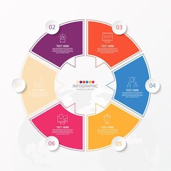 Basiscirkel infographic sjabloon met 12 stappen