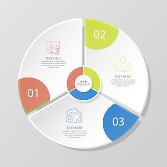 Basiscirkel infographic sjabloon met 3 stappen, proces of opties, procesdiagram, gebruikt voor procesdiagram, presentaties, werkstroomlay-out, stroomschema, infograph. vectorillustratie eps10.