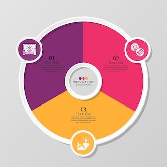 Basiscirkel infographic sjabloon met 3 stappen, proces of opties, procesgrafiek, gebruikt voor procesdiagram, presentaties, werkstroomlay-out, stroomschema, infograph. vectorillustratie eps10.