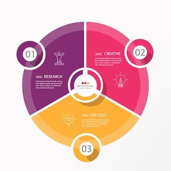 Basiscirkel infographic sjabloon met 3 stappen, proces of opties