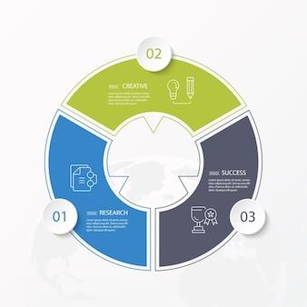 Basiscirkel infographic sjabloon met 3 stappen