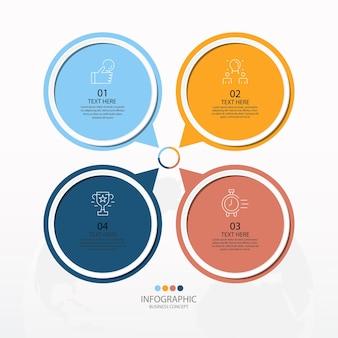 Basiscirkel infographic sjabloon met 4 stappen, proces of opties, procesgrafiek, gebruikt voor procesdiagram, presentaties, werkstroomlay-out, stroomschema, infograph. vectorillustratie eps10.