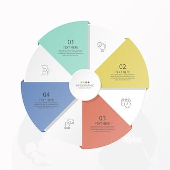 Basiscirkel infographic sjabloon met 4 stappen, proces of opties, procesgrafiek