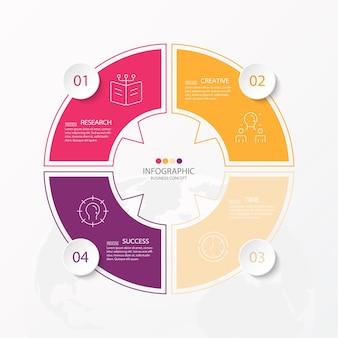 Basiscirkel infographic sjabloon met 4 stappen