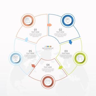 Basiscirkel infographic sjabloon met 5 stappen, proces of opties, procesdiagram