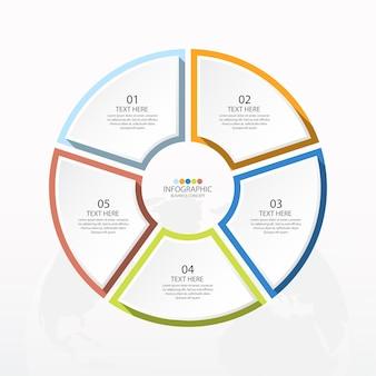 Basiscirkel infographic sjabloon met 5 stappen, proces of opties
