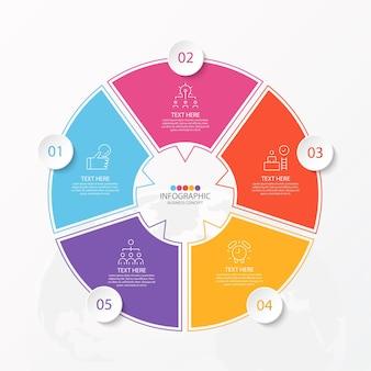 Basiscirkel infographic sjabloon met 5 stappen