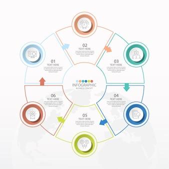 Basiscirkel infographic sjabloon met 6 stappen, proces of opties, procesdiagram